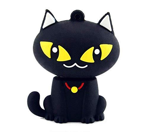 Micio Gatto 32 GB - Cat Puss - Chiavetta Pendrive - Memoria Archiviazione dei Dati - USB Flash Pen Drive Memory Stick - Nero
