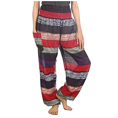 Inawayls Damen Baumwolle Haremshose mit Taschen Gemustert High Waist Leichte Baggy Yogahose Freizeithose Sommer Strand Festlich Pluderhose