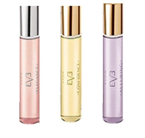 Avon Eve Eau de Parfum, Kollektion 3 Stück, Confidence, Alluring and Elegance – entworfen von Eva Mendes für Avon – 3 x 10 ml