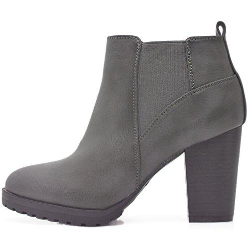 Kayla Shoes© Boots Stiefeletten in Schwarz oder Grau mit Absatz und Profil Sohle (40, Grau PU)