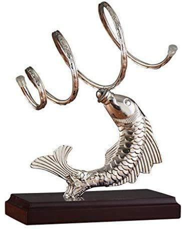 GIOAMH Escultura de pez plateado Adornos para estantes de vino Adornos creativos de hierro de resina para sala de estar Artesanías