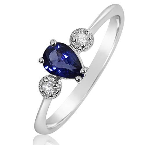 MILLE AMORI ∞ Anillo Mujer Compromiso Oro y Diamantes - Oro Blanco 9 Kt 375 ∞ Diamantes 0.03 Kt - Zafiro Azul 0,5 Kt