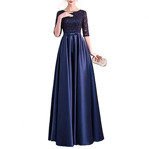 ZLDDE Damen Cocktailkleid Partykleid Lang Abendkleider Festlich Hochzeit KleiderDunkelblau Dunkelblau