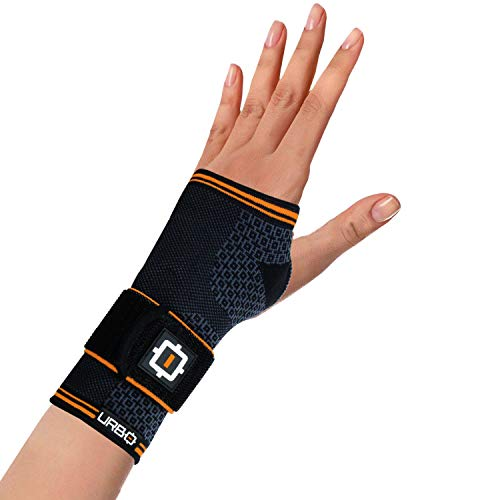 Urbo Wrist Brace with Compression Ergonomic Support for Carpal Tunnel Syndrome, Tendinosis, Nerve Damage, Ligament Tear, Repetitive Strain Injury (Size: M, Hand: L)