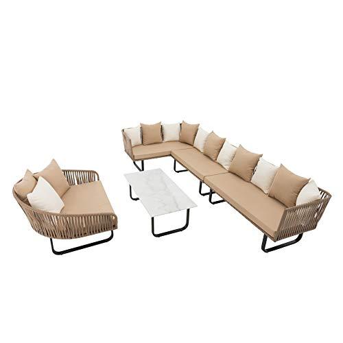 IHD polyrotan loungeset beige, snoervlechtwerk in touwlook, 23-delig, inclusief tafel met plaat in marmerlook