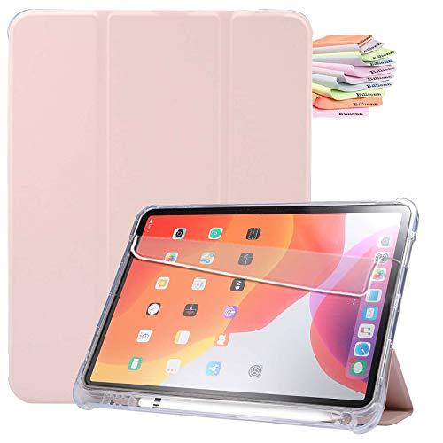 Billionn Custodia per iPad Air 4a Generazione 2020 + Proteggi Schermo, per iPad Air 4a 10,9 Pollici 2020 Smart Cover con Auto Sleep Wake e Portapenne, Rosa