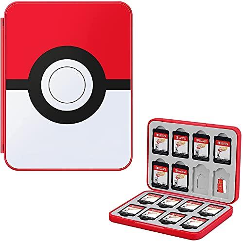 JINGDU Game Card Case für Nintendo Switch, robuste & tragbare 32 Slots Spiele Aufbewahrungsbox mit 16 Game Card Slots und 16 Micro SD Card Slots (Pokeball)