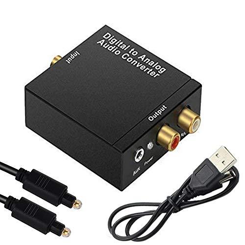 Convertitore Audio Digitale Analogico, Adattatore Audio Stereo Coassiale a RCA (L/R) 3.5 mm con Cavo in Fibra, Scatola Convertitore SPDIF Toslink, per PS4 / DVD/HDTV/Home Cinema Cuffie