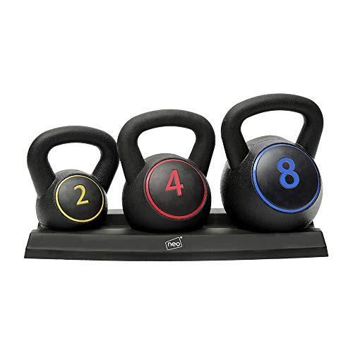 Neo Kugelhantel-Set, 3-teilig, Gewichte für Heimtraining, Fitnessstudio mit Ablage, 2, 4, 8kg