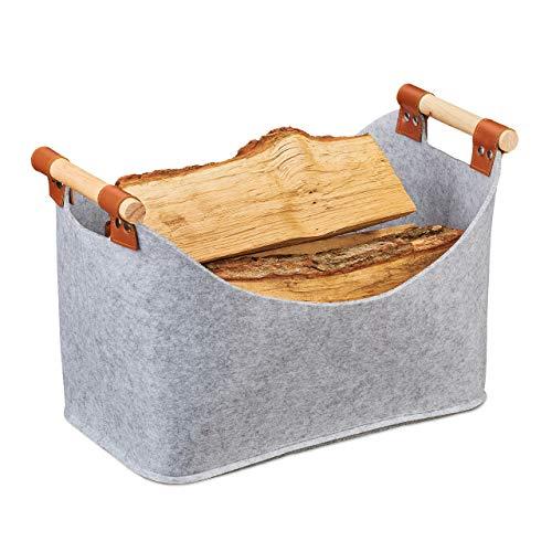 Relaxdays Filztasche, Aufbewahrungskorb Filz, Faltbare Aufbewahrungsbox, Filzkorb mit Henkeln, HBT 27x40x22 cm, hellgrau