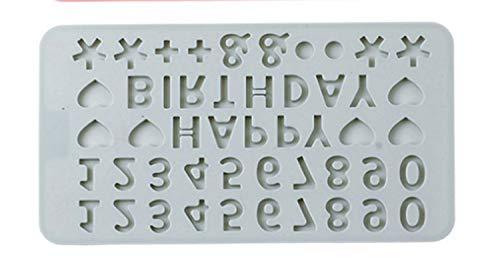 LNLW Eten Silicone Gelukkige Verjaardag Engels alfabet Vorm cake chocolade Ice Cube Mold Keuken Tool DIY Baking Tool (Color : Gray)