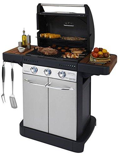 Campingaz 3 M Series Classic EXS Gasgrill, BBQ Grillwagen mit 3 Edelstahl-Brennern, Deckelthermometer, gusseiserner Grillrost mit Plancha, leichte Reinigung, silber