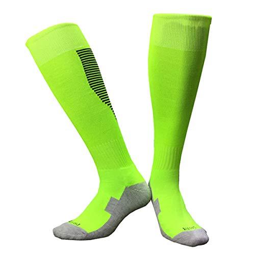 Unisex Verschleißfest Fußballsocken Sportsocken Knie Lang Herren Jungen Atmungsaktiv Fußball Stutzen Socken Strümpfe (Hellgrün, XS 28-34)