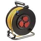 AS Schwabe 10137 - Carrete alargador de cable (metal, 40 m, diámetro de 285 mm, IP44 en exteriores), color amarillo
