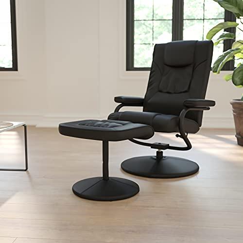Flash Muebles contemporáneos Negro Piel Suave para sillón reclinable/otomana con Envuelto Base