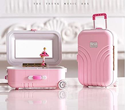 Royare Suitcase Design Dresser Rotating Ballerina Girl Music Box with Makeup Mirror-Pink