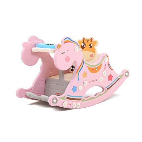 Schaukelpferd LINGZHIGAN Kind Cute Baby Geburtstagsgeschenk Infant Zwei-in-one Stuhl Cartoon Spielzeug Trojaner 73 * 35 * 47 cm