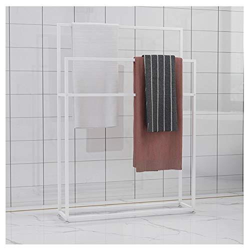 WING Handtuchhalter freistehend Handtuchständer Metall Bad Handtuchstangen, treppenförmiger Handtuchständer, Rostfrei, 110 cm Höhe,Weiß,65×20×110cm(L×W×H)