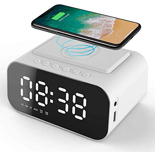 CHXFit Despertador de carga inalámbrica Reloj Digital para el hogar Altavoz Bluetooth Radio USB Doble Despertador 3 Brillo Regulable Reproductor de Tarjeta TF Blanco