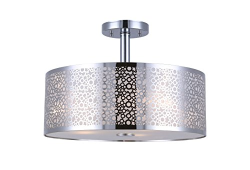 CANARM ISF543A03CH Piera 3-Light Semi-Flush Mount with Crystal, Chrome