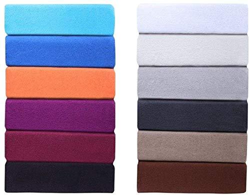 Farbenfrohes Thermo Fleece Winter Spannbettlaken, Spannbetttuch, Bettlaken in vielen Größen und Farben (200x220 cm +40cm Steg, Schwarz)