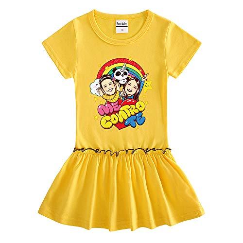 O&K Robe New Girl Manches Courtes bébé Princesse Jupe Populaires Sweat Top Vêtements,Jaune,140cm