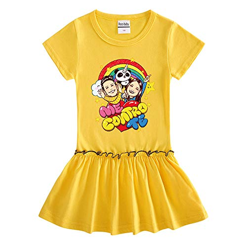O&K Robe New Girl Manches Courtes bébé Princesse Jupe Populaires Sweat Top Vêtements,Jaune,140cm