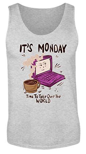 Piasana Kaffee und Laptop - Start in die Woche - Montag Woche Hustler Business Büro Unternehmer - Herren Tanktop -L-Sport Grau (Meliert)