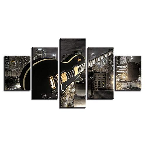 nobrand Wohnkultur canvas woonkamer HD gedrukt modern 5 panelen gitaar bouw muziek foto's schilderij muurkunst modulaire poster 20x35 20x45 20x55cm geen lijst