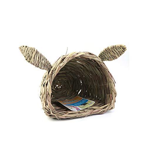 Baige Nido de Paja para Mascotas, pequeña Mascota Chinchilla Cerdo holandés/hámster/Erizo/Conejo casa de Hierba Ambiental, Nido de Hierba para Colgar en casa