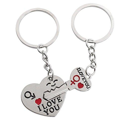 AIUIN Lot de 2 porte-clés en acier inoxydable avec pendentif « clés » et « locks » en forme de cœur, porte-clés pour couple de chaîne, accessoires de décoration (avec un sac à bijoux)