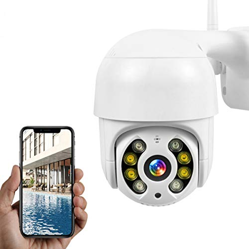 PTZ Camara Vigilancia, Camara WiFi Exterior Impermeable IP66 con Audio de Dos Vías, Visión Nocturna en Color, Detección de Movimiento, 355° Pan/90° Tilt