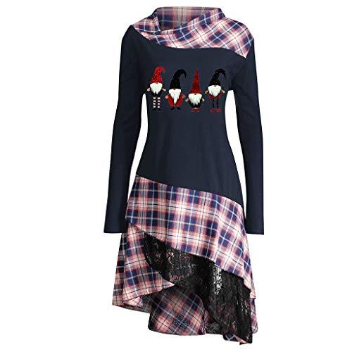 Rosennie Damen Pullover Winter Damen Longshirt Tunika Minikleider Übergröße Loose Asymmetrisch Sweatshirt Weihnachten Plaid Patchwork Langarm Kleid Oversize Longpullover Oberteile (L, Marine)
