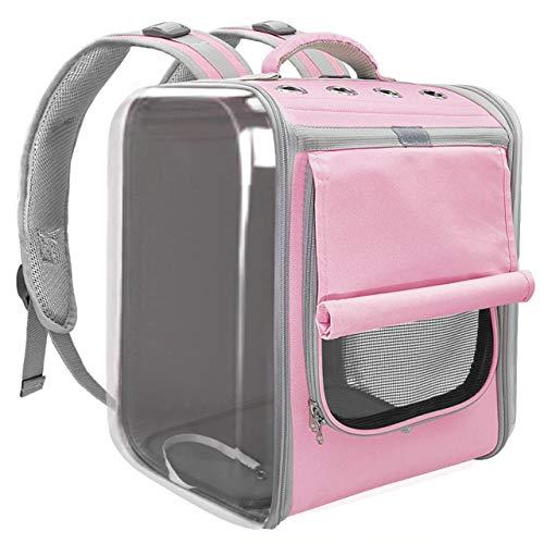 Pretty Cat Mochila para viajes, senderismo y uso al aire libre, mochila de viaje para gatos, cachorros, perros y pájaros, ventilar mochilas transparentes para gatos, color rosa