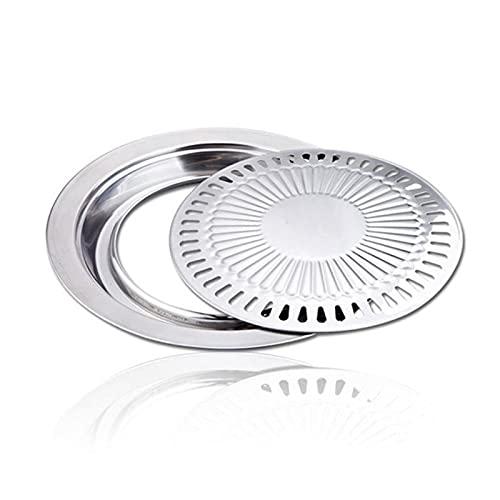 WSY Antihaft-Gasgrill-Pan Edelstahl Grillplatte Gesundes Rauchloses Runde Röstpfanne Outdoor-Kochwerkzeug