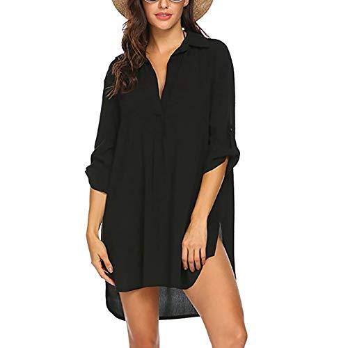 GALEI Saída de praia feminina, minivestido de biquíni, túnica, top, Preto, P