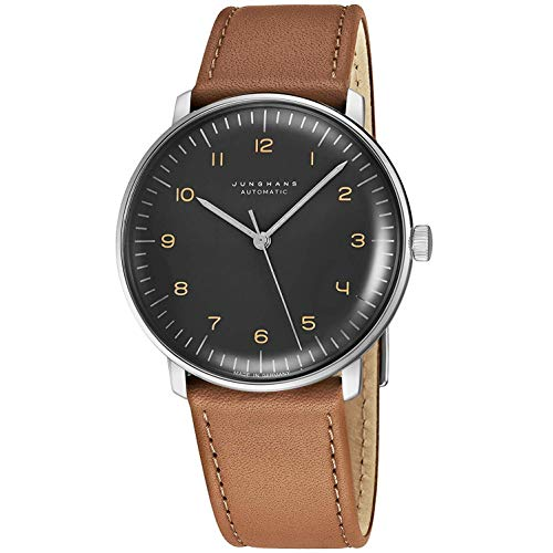 Junghans Max Bill Automatic Mens Watch - 38mm Analog Grey Face Classic Watch with Luminous Hands - Stainless Steel Brown Leather Band Luxury Watch for Men Made in Germany 027/3401.00