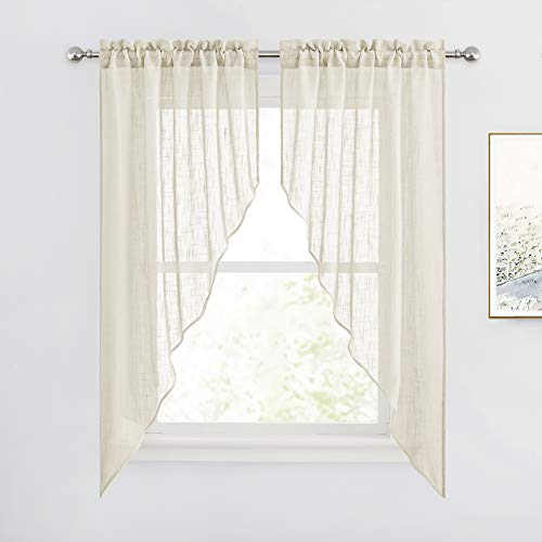RYB HOME Curtain Tier and Swag Set, Privacy Sheer Curtains Window Treatment Drapes Light & Airy Voile Panels for Bedroom / Kitchen / Farmhouse Garden, 36 x 63-inch Each, 2 Pcs, Warm Beige