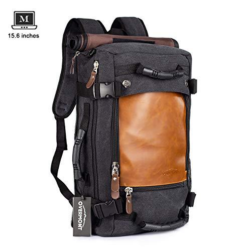 Overmont Vintage Rucksack Herren Wanderrucksack Reiserucksack 15,6 Zoll Laptoprucksack Schultasche Daypack Großer Multifunktion Khaki/Schwarz