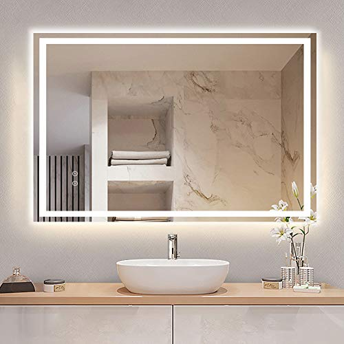 DLLT 36 x 28 Inch LED Lighted Vanity Bathroom Mirror, Dimmable Touch Wall Mounted Mirror Lights with Plug, Anti-Fog&Waterproof Mirror with Light, Bedroom Frameless Mirror, CRI>90,Vertical & Horizontal' /></a></td> <td class=