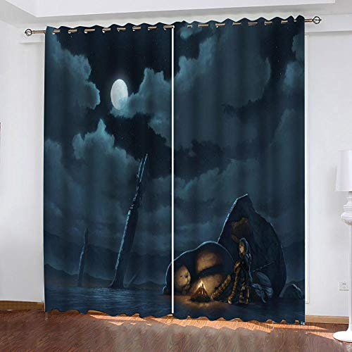 QLCUY Printed Kids Blackout Curtains Grey Night Sky Blackout For Children Bedroom Eyelet Thermal Insulated Room Darkening Curtains For Nursery Living Room Bedroom W140 X H160Cm.