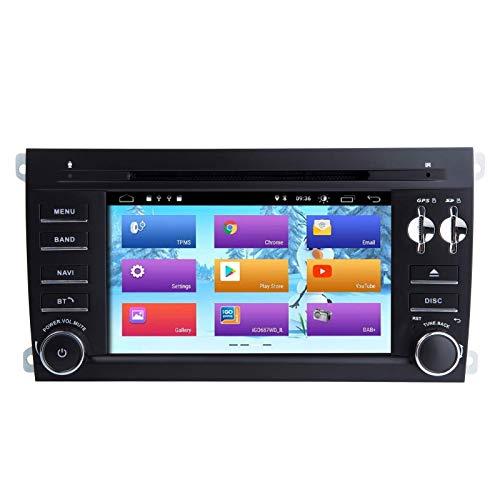 Android 10.0 Car Radio Estéreo Navegación GPS Reproductor multimedia para automóvil de 7 pulgadas Unidad principal de doble Din para Porsche Cayenne Soporte Pantalla Espejo WiFi OBD2 Control del vola