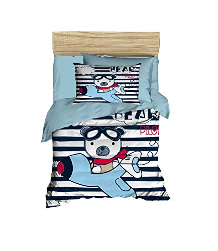 100% Cotton Teddy Bear Pilot Themed Nursery Baby Bedding Set, Toddlers Crib Bedding for Baby Boys and Girls, Duvet Cover Set with Comforter, 5 Pieces