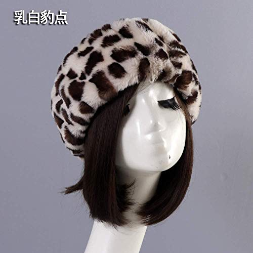 Hut Warme Mütze n Lei Feng hat Nachahmung Dicke milchig weißen Leopard leer Top Hat Winddicht Warme Mütze Ring Head Set Sport Kurze Weichen weiblichen Herbst Winter
