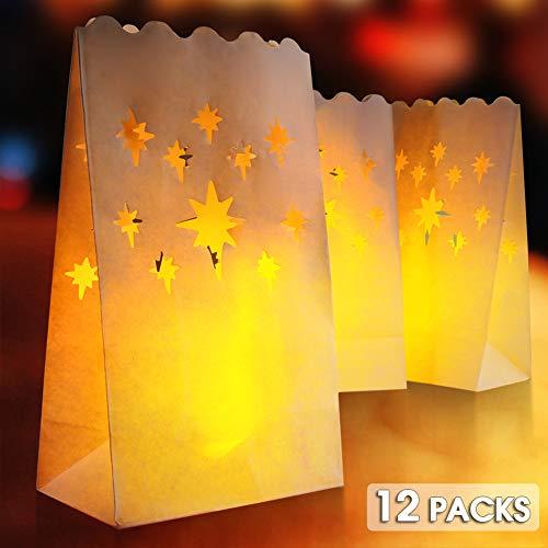PChero 12st Witte Vlamvertragende Lichtgevende Kaarsen Zakken Lantaarn met Ster Ontwerp voor Verjaardag, Bruiloft en Feestdecoratie, zoals Halloween, Kerstmis, Valentijnsdag