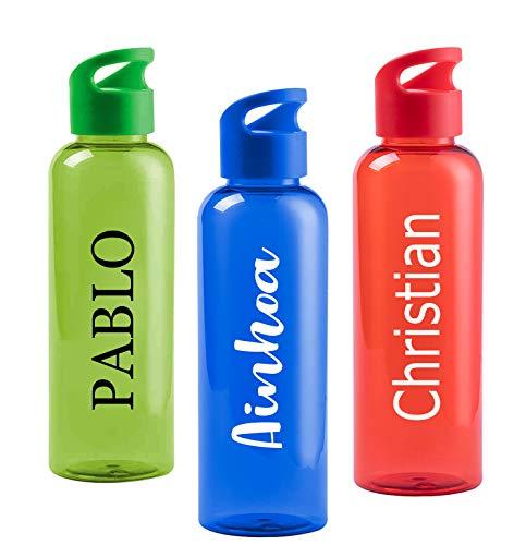 Botella Personalizada tú Nombre en diferentes tipografías. 3 colores: roja, azul o verde. Libre de BPA y capacidad de530ml.
