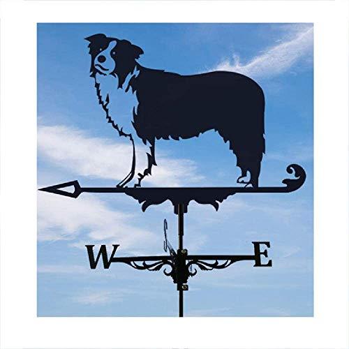 ZSMLB Skulptur Ornament, Metall Wetterfahne mit Rostschutzbeschichtung, Hund Windfahne Rasen im Freien Gärten Ornament Dächer Wetterfahne Patio Yard Skulptur, B.