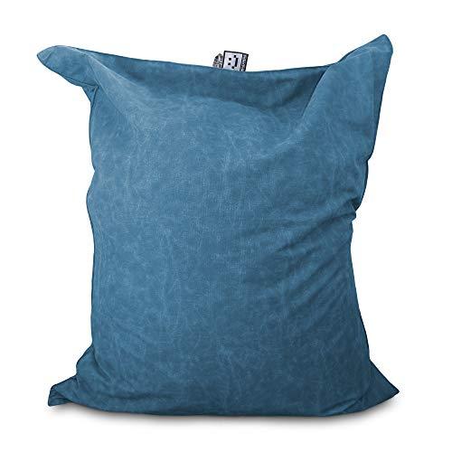 HAPPERS Puff Gigante XXL Tejido Orgánico COTOTEC Azul con Relleno para Interior. Cojin Gigante Muy cómodo y versátil Puede ser sustituto del sofá o también de la Cama
