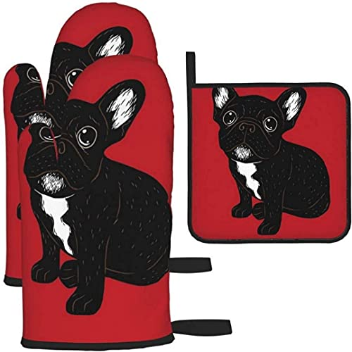 JKKL Cute Brindle Frenchie Puppy Pattern,3pcs Oven Mitts and Pot Holders for Kitchen,Cooking,Baking,Grilling,BBQ