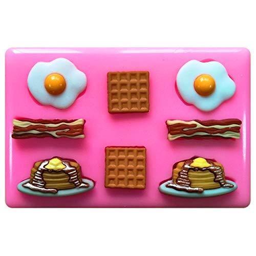 Petit Déjeuner Nourriture bacon œufs Gaufres crêpes Moule Moule en silicone pour décoration de gâteaux gâteaux en pâte à sucre Fairie Blessings